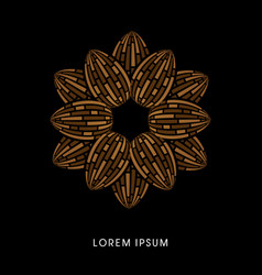 Brown lotus abstract construction vector