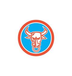 Bull cow head nose ring circle cartoon vector