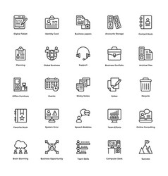 business and finance line icons 2 vector image
