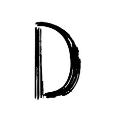 capital letter d painted by brush vector image vector image