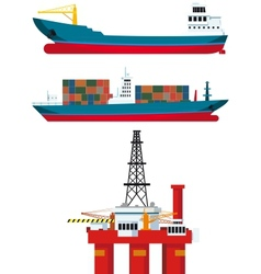 Cargo ships and oil platform vector