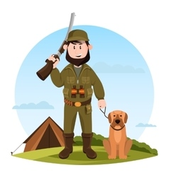 Cartoon hunter with rifle and hunting dog vector