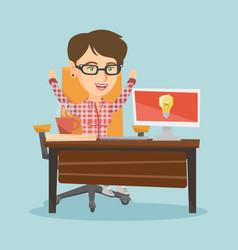 caucasian happy woman having a business idea vector image vector image