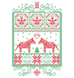 christmas pattern nordic with dala horse vector image