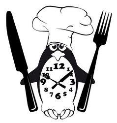 Cook menu penguin glutton mode vector