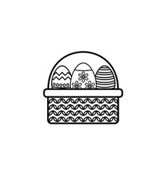 Easter eggs in basket line icon religion holiday vector