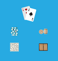 Flat icon play set of dice multiplayer lottery vector