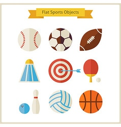 Flat Sports Objects Set vector image vector image