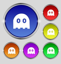 Ghost icon sign round symbol on bright colourful vector