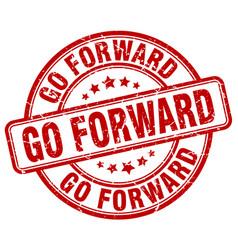 Go forward red grunge stamp vector