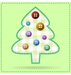 Greeting card with christmas tree dressed vector