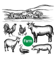 Hand drawn farm set vector