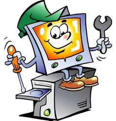 Hand-drawn of an Computer Repairman vector image