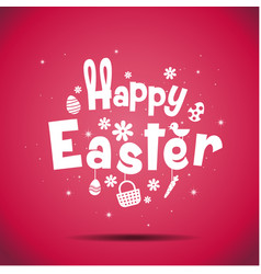 happy easter typography bunny egg vector image vector image