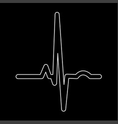 Heart rhythm ekg white color path icon vector