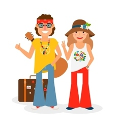Hippie Couple Hitchhiking vector image
