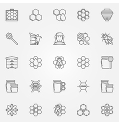 Honey and beekeeping icons set vector image