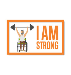 i am strong concept with disabled man vector image