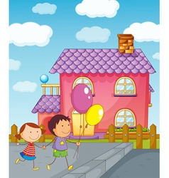 kids and a house vector image