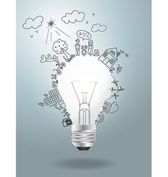 Light bulb idea with creative drawing ecology vector image vector image
