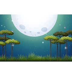 Nature scene on fullmoon night vector
