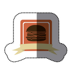 pink emblem hamburger fast food icon vector image vector image
