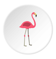 Pink flamingo icon circle vector