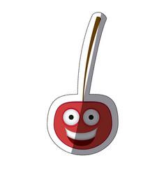 Red kawaii happy cherry icon vector