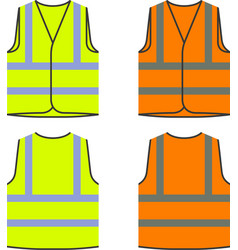Reflective safety vest yellow orange vector