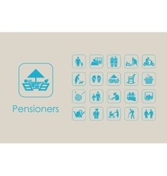 Set of pensioners simple icons vector