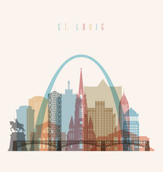 st louis state missouri skyline detailed silhouet vector image