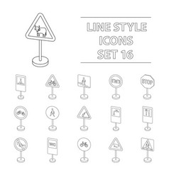 transportation set icons in outline style big vector image