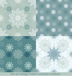 Vintage seamless winter patterns with snowflakes vector image