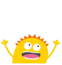 yellow monster head with two eyes hands teeth vector image