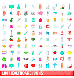 100 healthcare icons set cartoon style vector