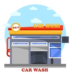 Car wash architecture front view of facade vector