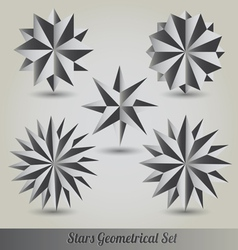 Set star polyhedron for graphic design vector image