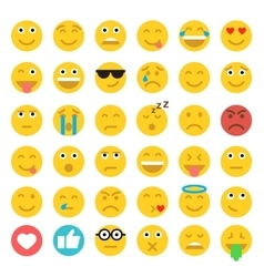 Set of emoticons set of emoji flat style vector
