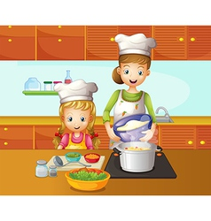 A mother and daughter cooking vector