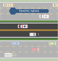 Traffic news icon with road lines and transport vector