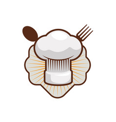 Chef hat toque and cutlery vector