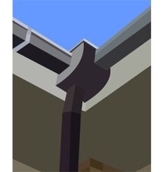 Gutter on the roof in the corner vector image