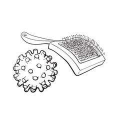 Pet cat dog accessories - hair grooming brush vector