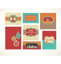 Xmas set - labels tags and greeting cards vector
