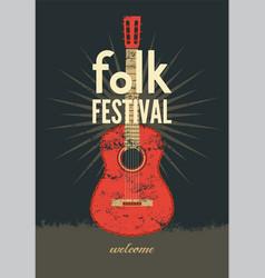 Music poster folk ornament guitar concept vector