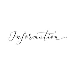 Information word hand written custom calligraphy vector