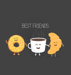 Best friends coffee croissant and donut character vector