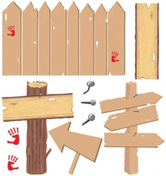 wooden signs and fences vector image