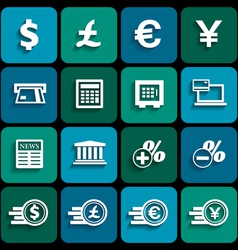 Financial and money icon set vector