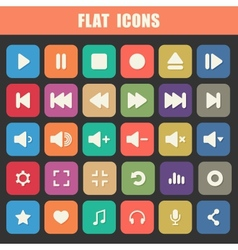 Trendy flat media player icons set multimedia vector